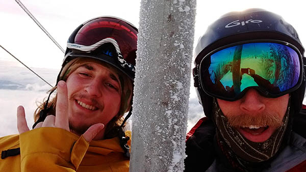 Selfie of Erik McLaughlin and the author on the chairlift.