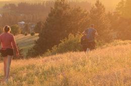 Photo of hikers on Antoine Peak at sunset.