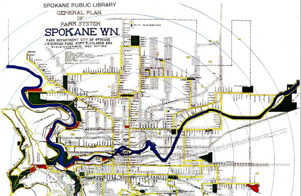 General plan of park system courtesy of the Spokane Public Library.