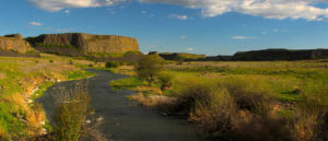 Photo of creek with butte in background.