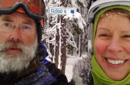 Selfie of Roy & Nancy Self in ski gear.