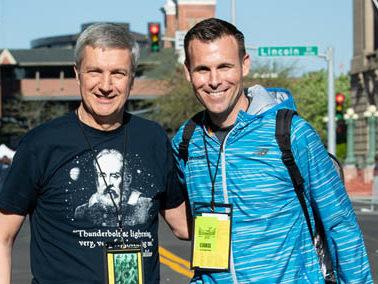 Portrait of Don Kardong and Jon Neill downtown Spokane.