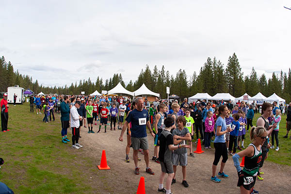 Photo of runners at the start of the Spokane River Run.