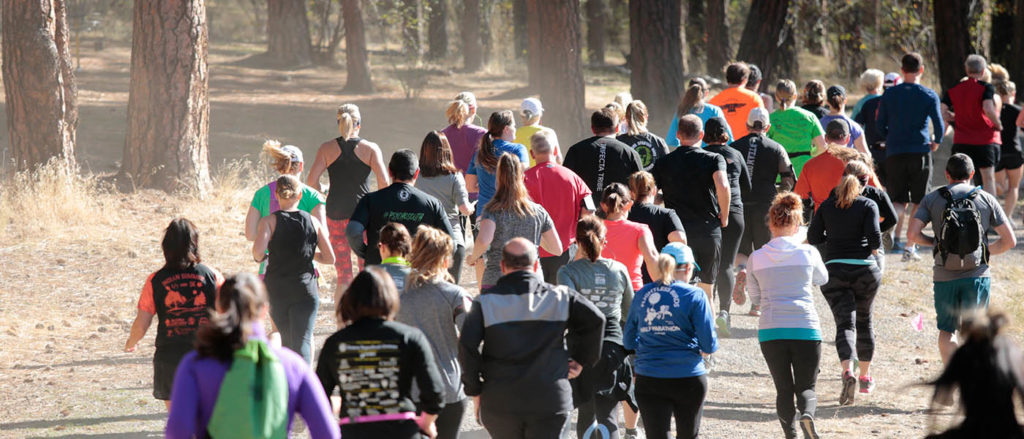 Photo of runners from behind.