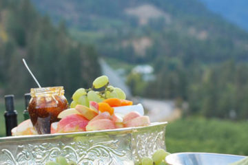 Photo of wine and fruit spread.