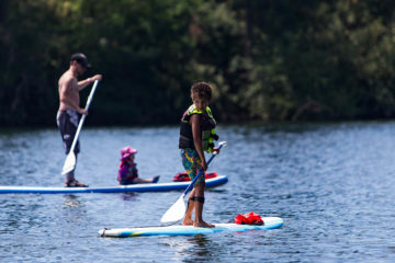 Photo of Stand Up Paddleboarders on the Spokane River.