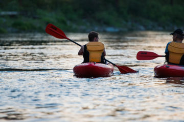 Photo of kayakers on the Spokane River.