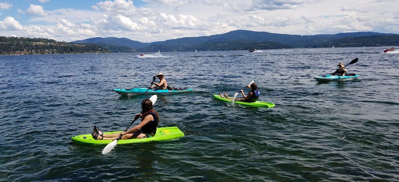 Kayakers on Lake Coeur d'Alene.