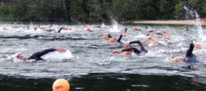 Swim racers in black wetsuits and red swim caps freestyle swimming during the Priest Lake Triathlon.