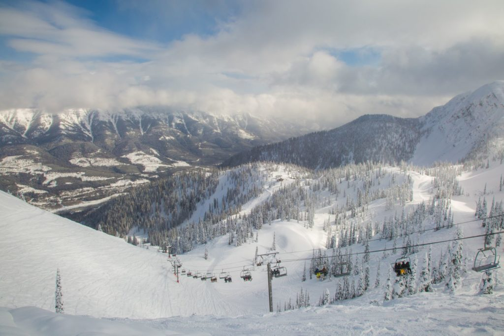 chairlift at Fernie Alpine Resort with scenic mountain view