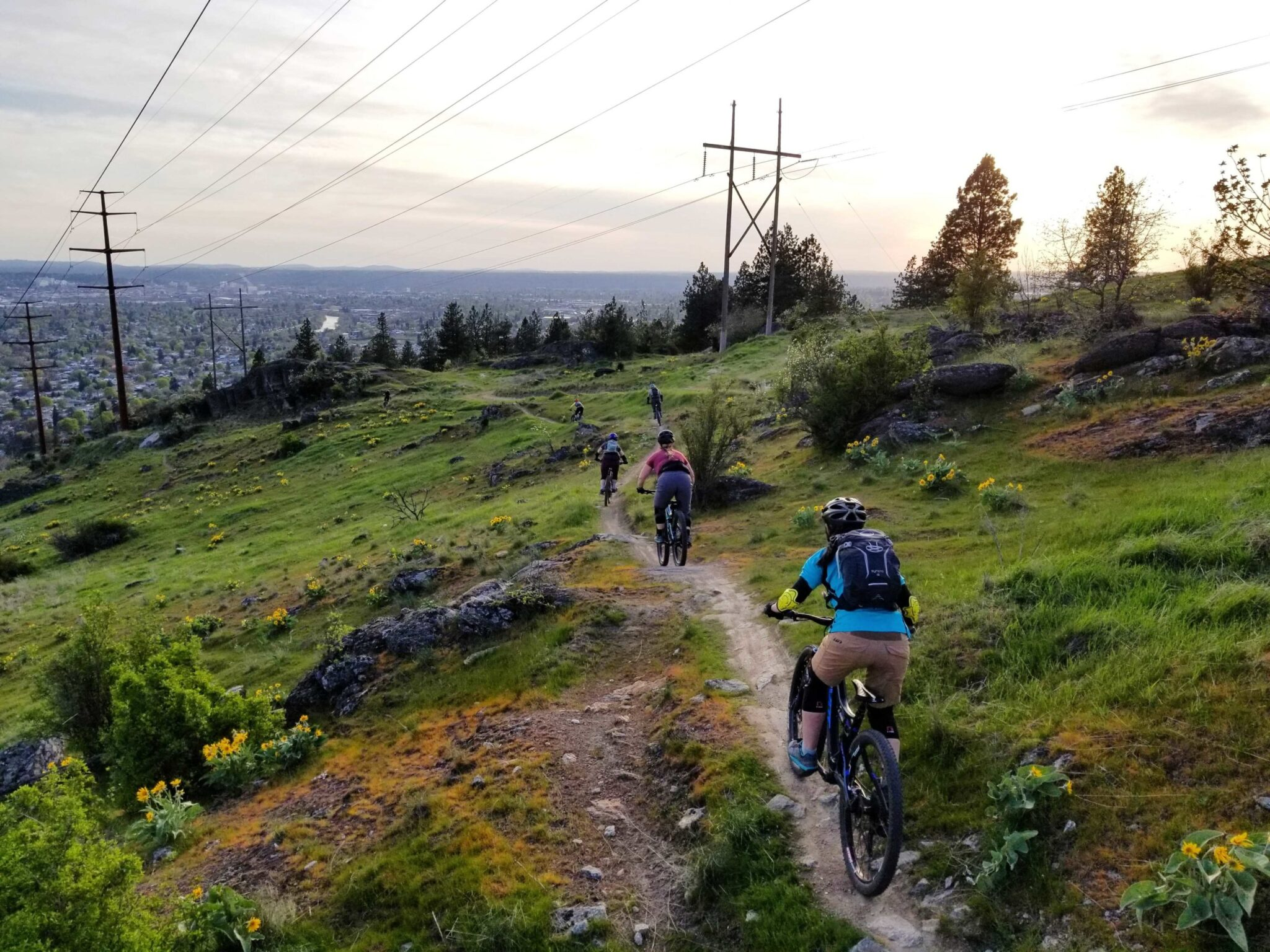 A group of people biking on a hill trail.