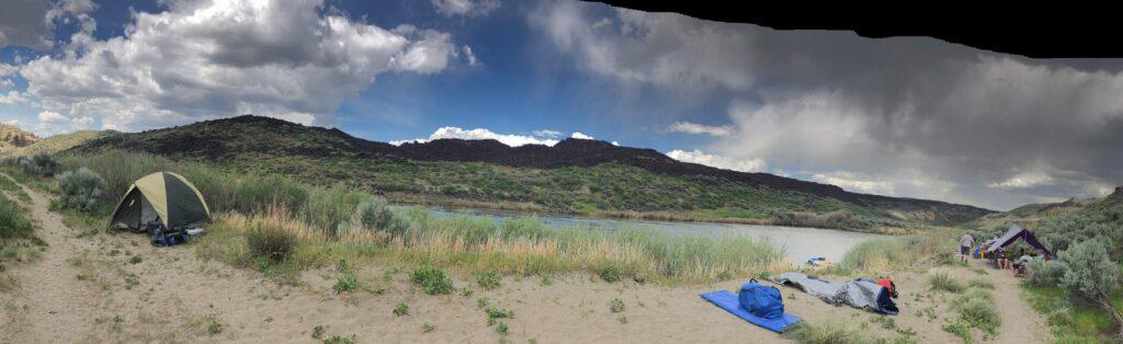 A river-side campsite.