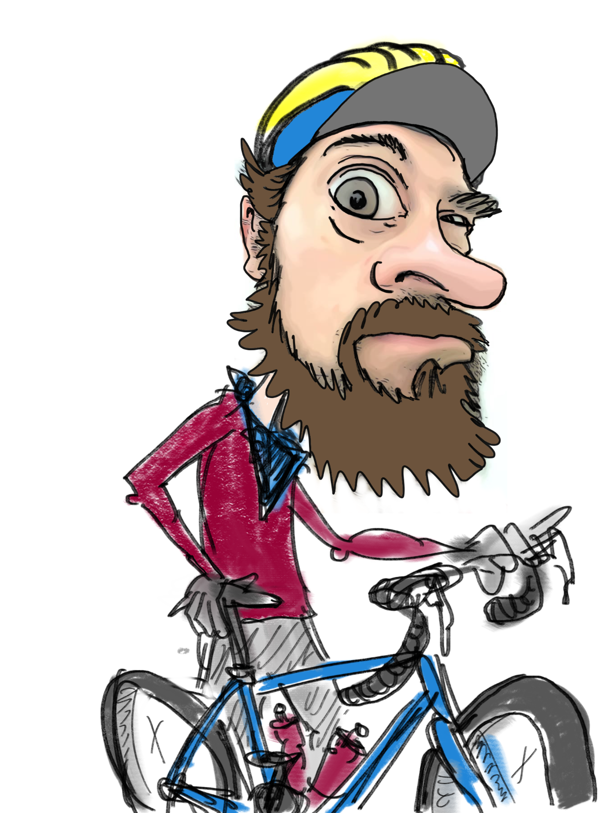 Self portrait illustration of cyclist Justin Short.