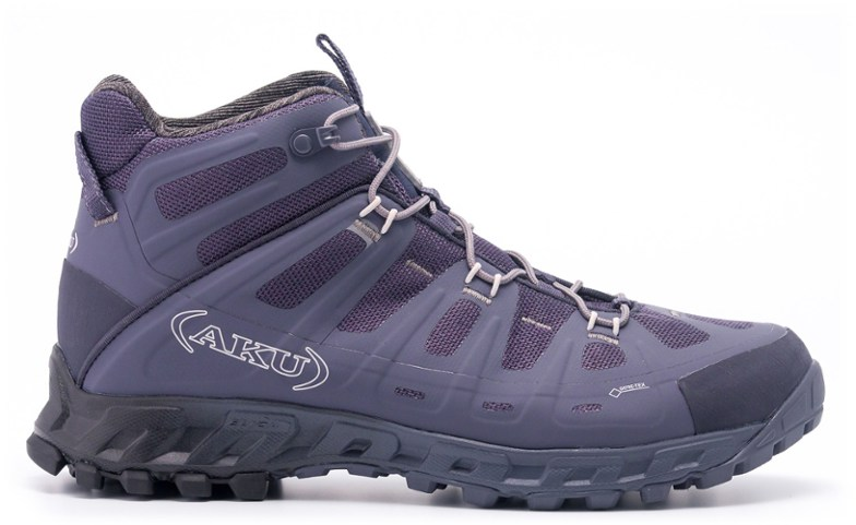 Purple hiking boots.