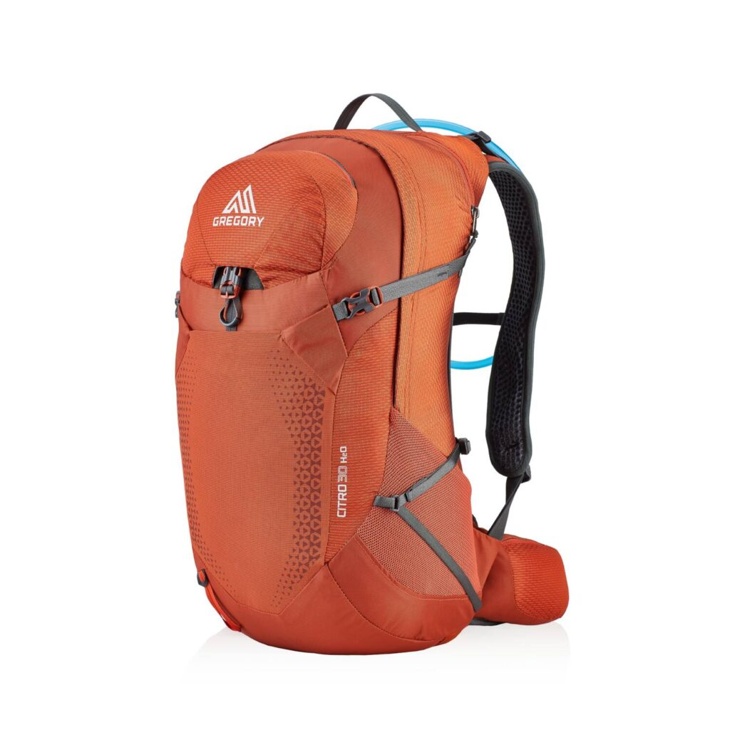 Orange backpack with grey straps.