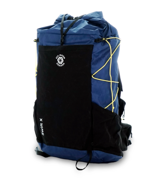 Blue backpack with black pockets and yellow straps.