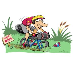 Swamp of doom bike riding illustration by Justin Short.