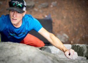 A man rock-climbing.