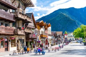 pedestrians walking the car-free streets of downtown Leavenworth.