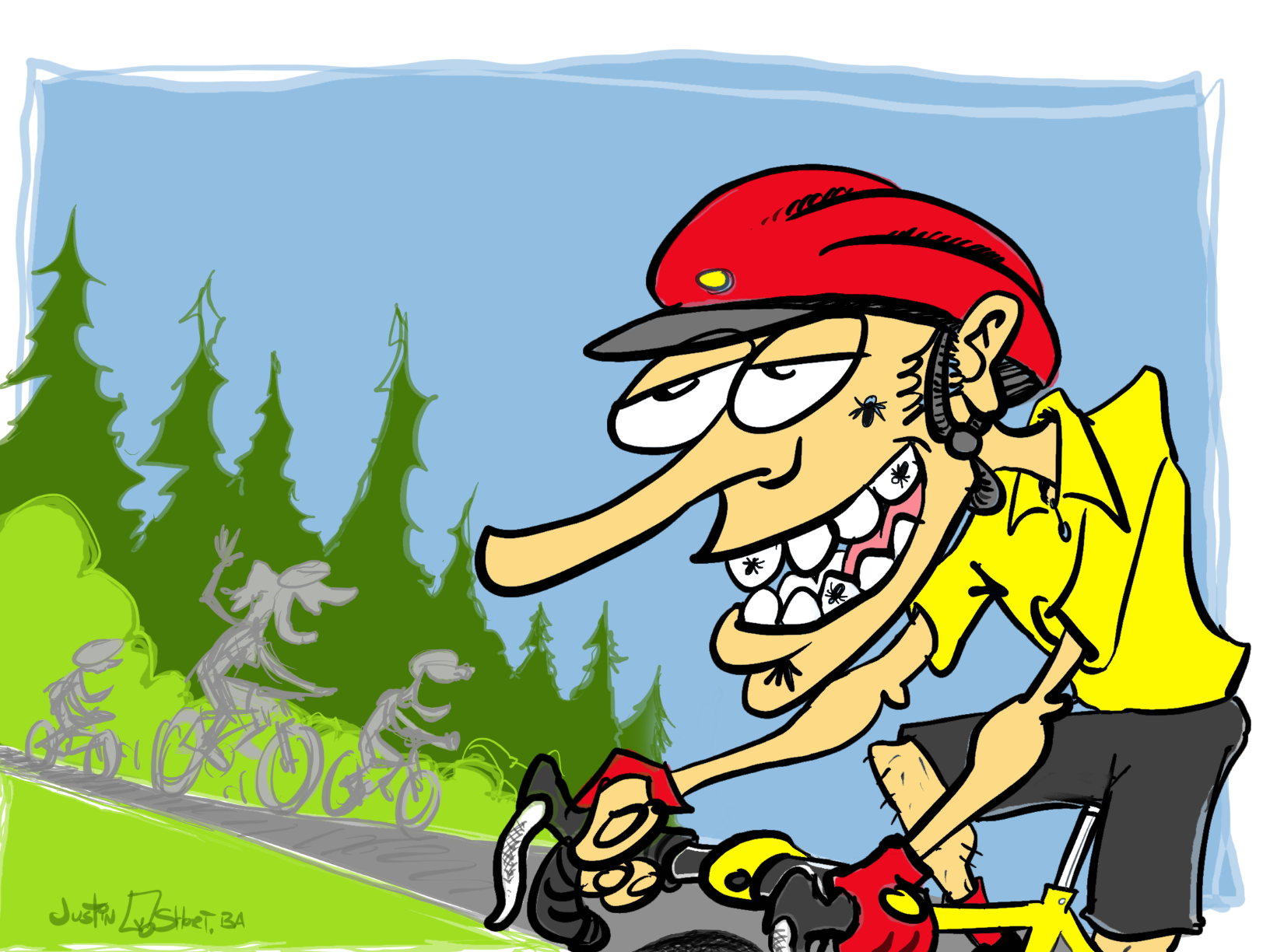 Bugs in teeth bike rider, illustration by Justin Short.