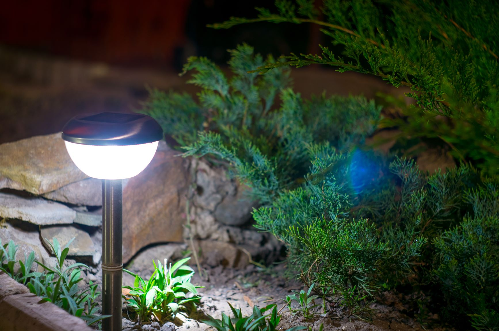 a close-up shot of solar outdoor lighting.