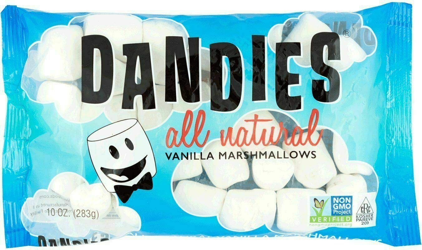 Marshmallows in blue packaging.
