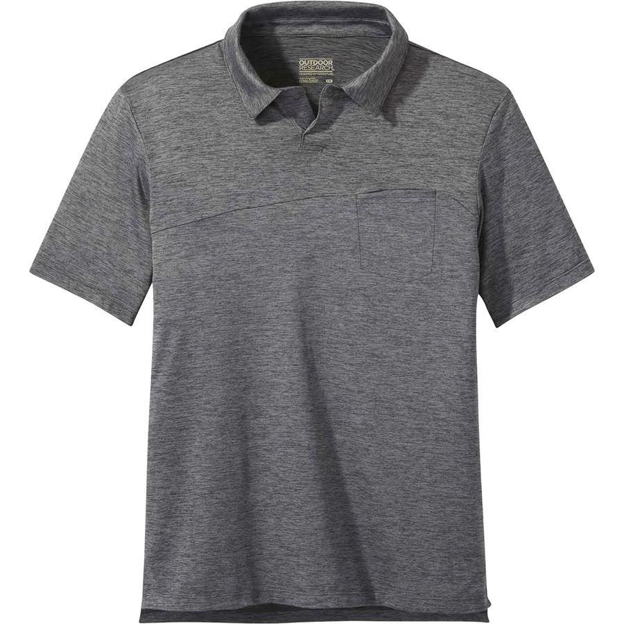 Grey polo shirt with a pocket.