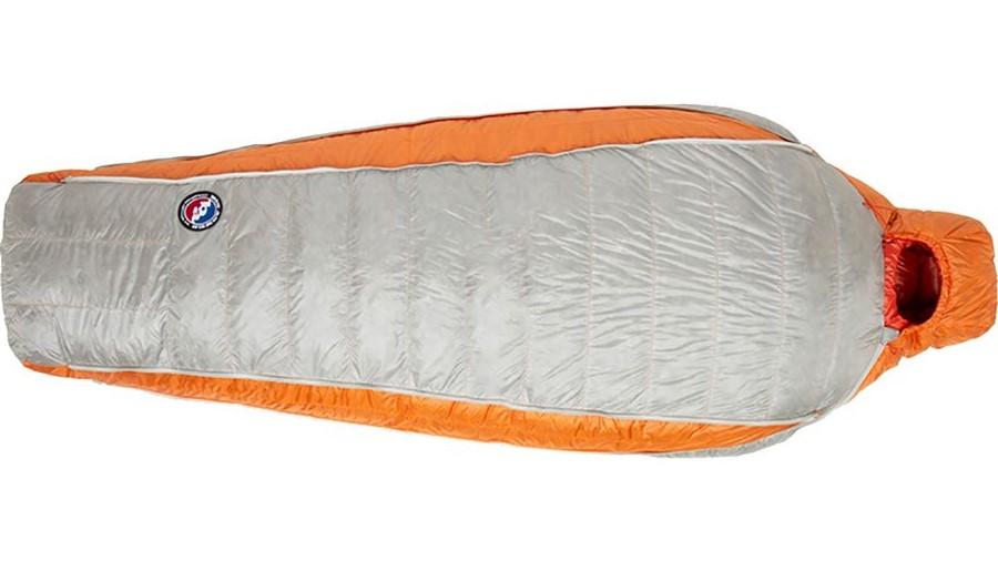 Orange and grey sleeping bag.