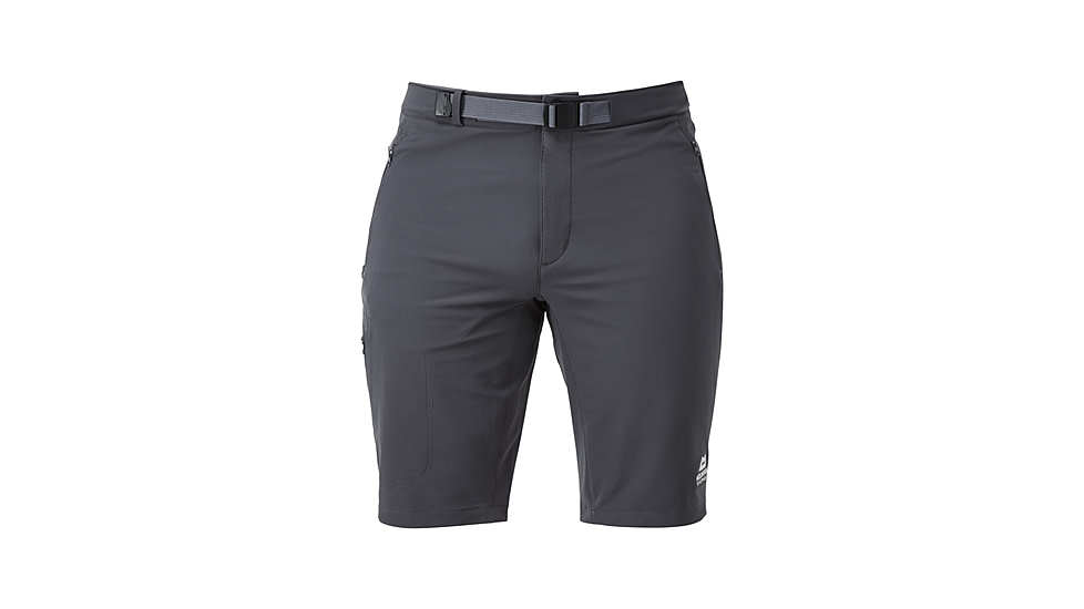 grey shorts with a built-in belt.