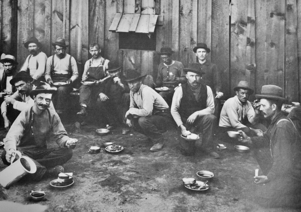 A vintage photo of a Wallace miners' strike in the 1890s.