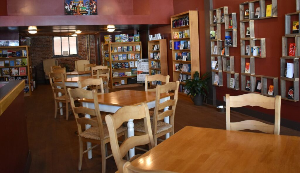 bookstore shelves and tables