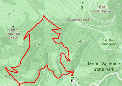 Topographic map of Mount Spokane State park.