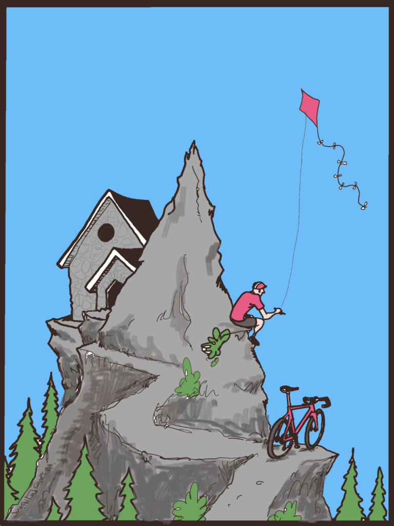 Illustration of mountain peak with Vista House building on the summit, and cyclist sitting on the mountain, next to bike, with flying kite in hand.