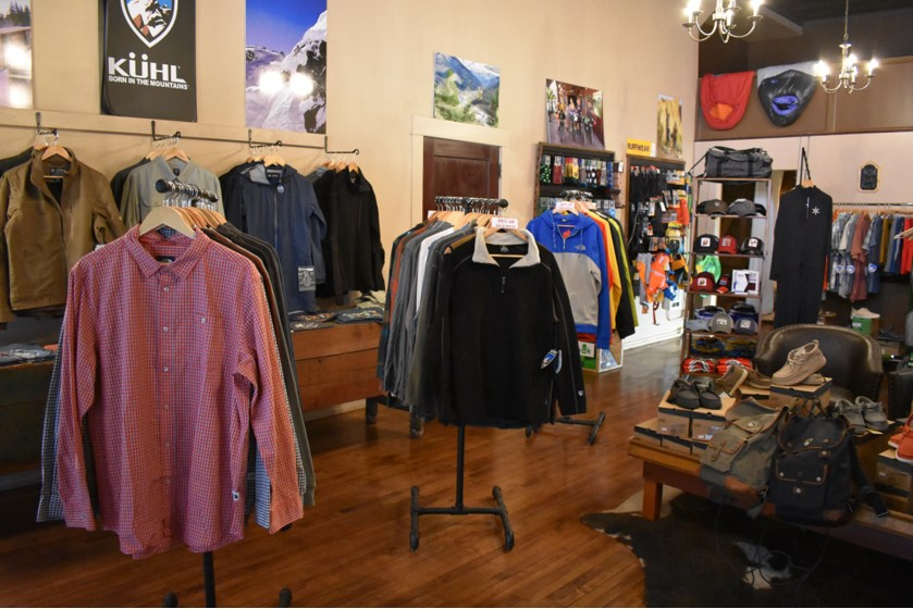 outdoor apparel racks with long-sleeved shirts, ski wear