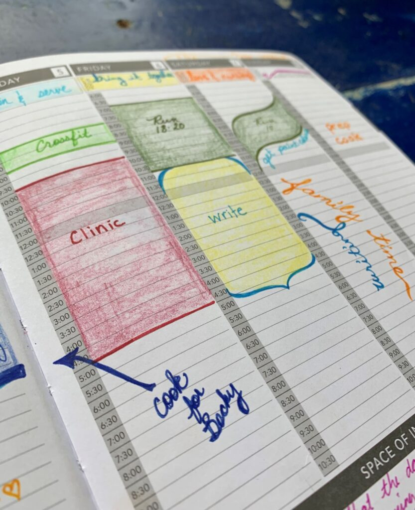 Close-up of planner .