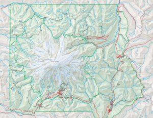 Topographic map of Mount Rainier national park.