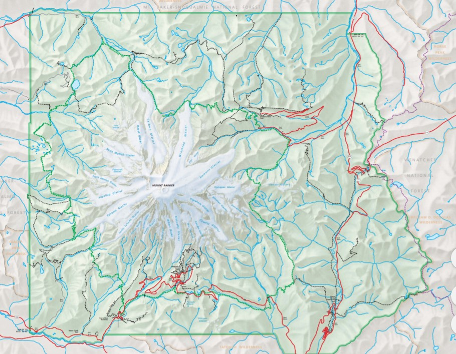 Topographic map of Mount Rainier national park.