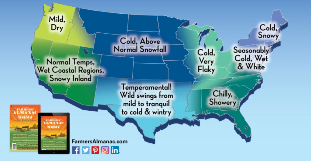 Farmers Almanac prediction across the United States infographic.