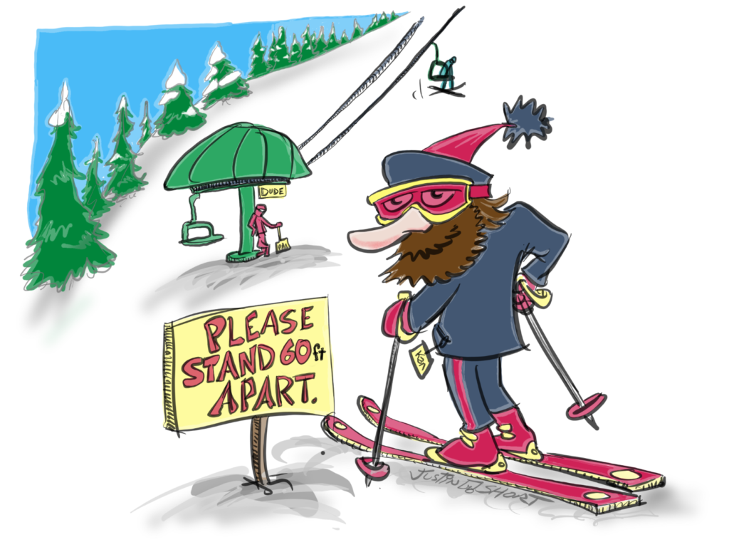 Socially distanced skiing illustration by Justin Short.
