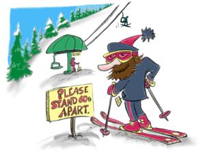 Socially distanced skiing illustration by Justin Short.