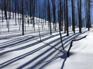 Light and shadows from Deer Creek Summit SnoPark.