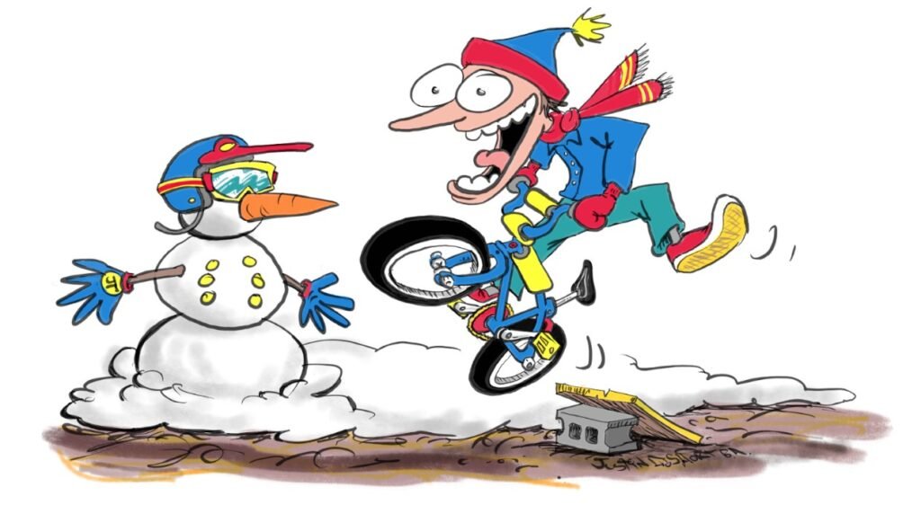 Energetic guy snow biking illustration by Justin Short.