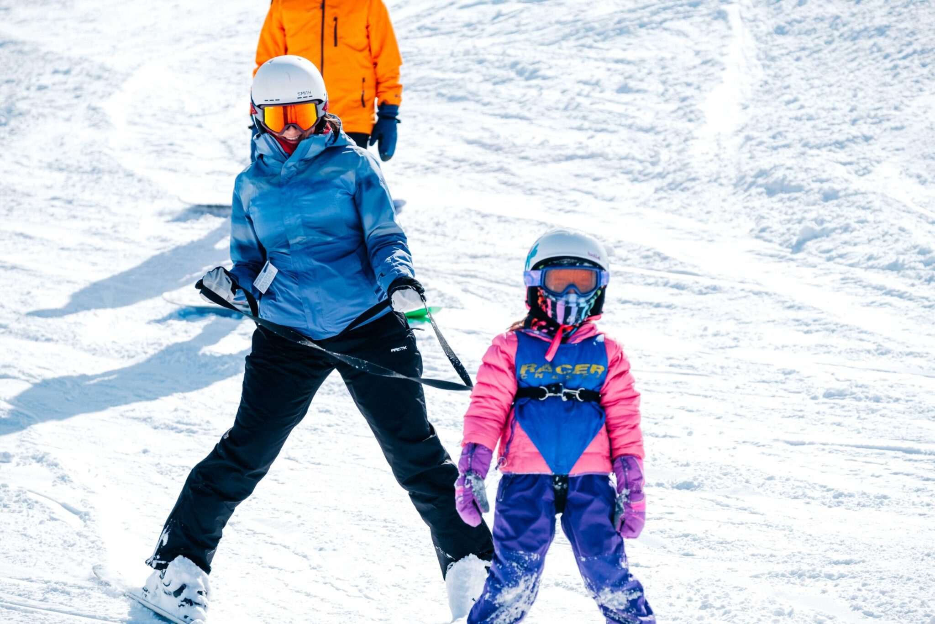 Girl learning to ski.