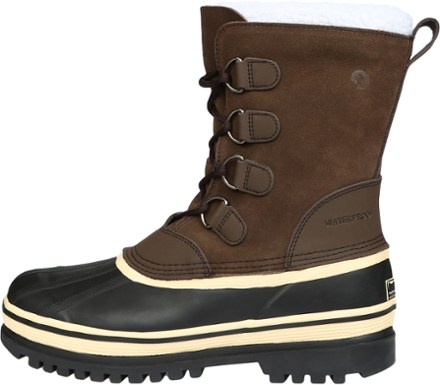 Men's snow, mid-calf boots with leather-nylon upper, rubber shell, and gusseted tongue.