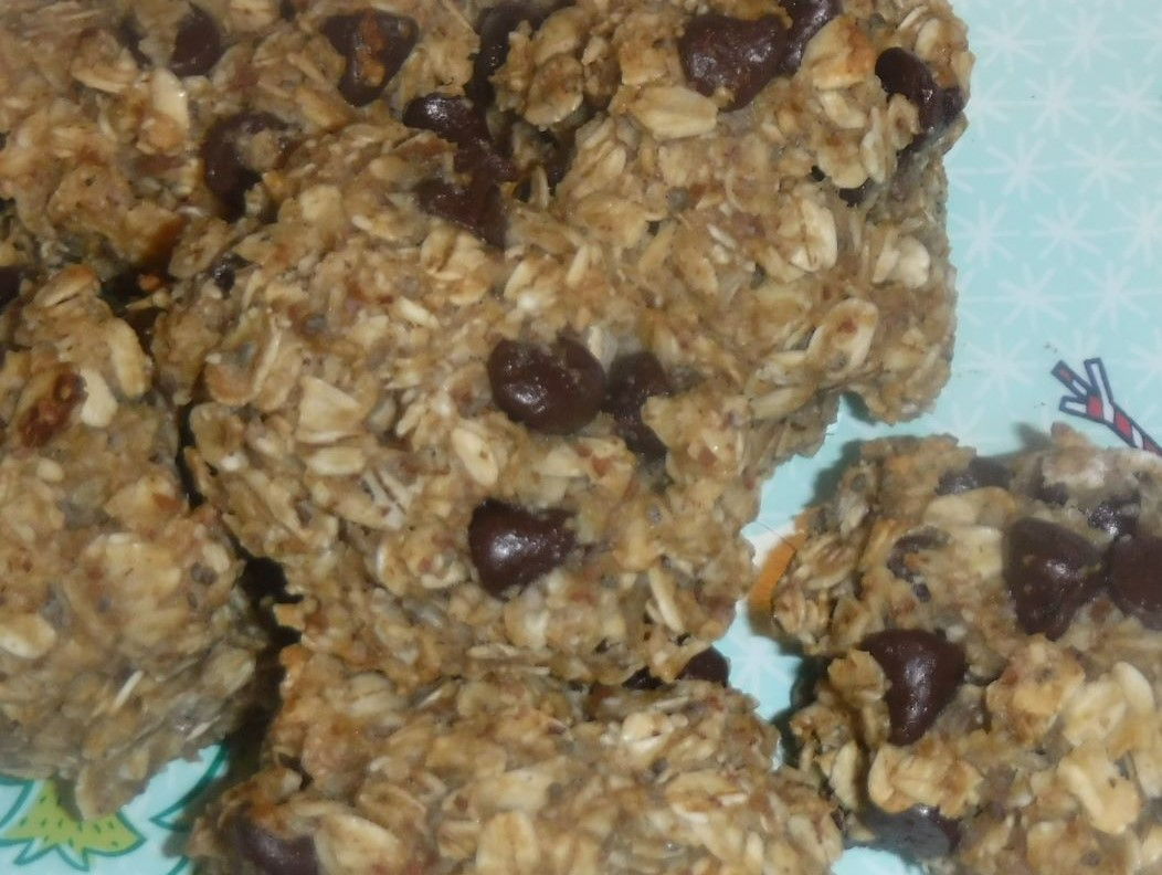 Up-close breakfast cookies with oats and chocolate chips.
