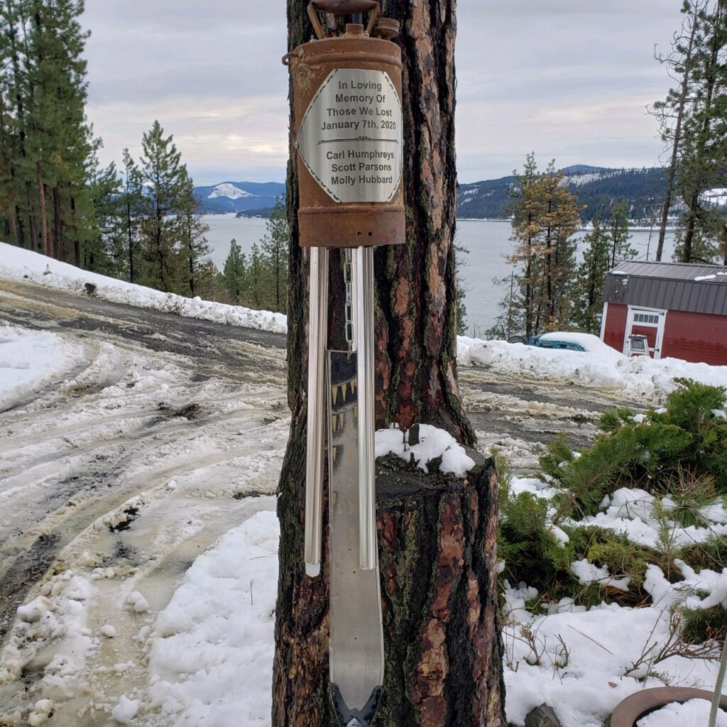 Memorial Bell inscribed with the names of the three avalanche victims will be installed on the traverse to Wardner Peak.