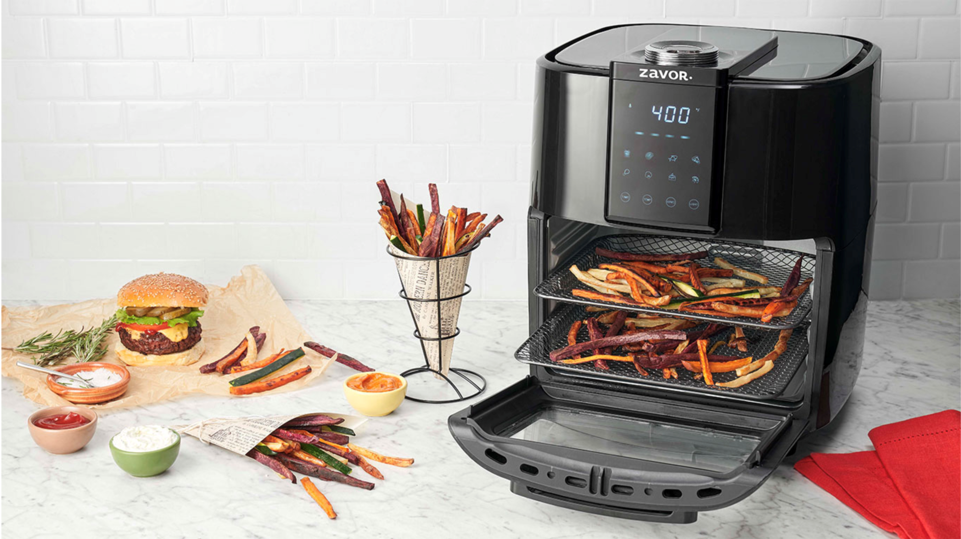 Zavor air fryer with assorted fries.
