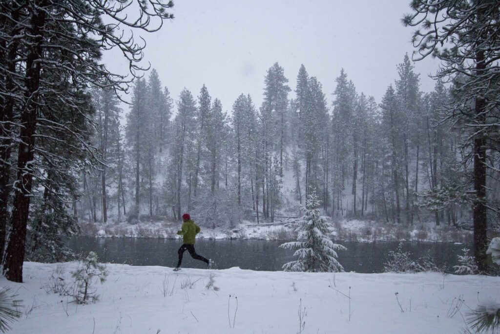 Winter running by the river.