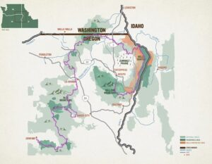 Map of the Blue Mountains Trail in northeast Oregon.