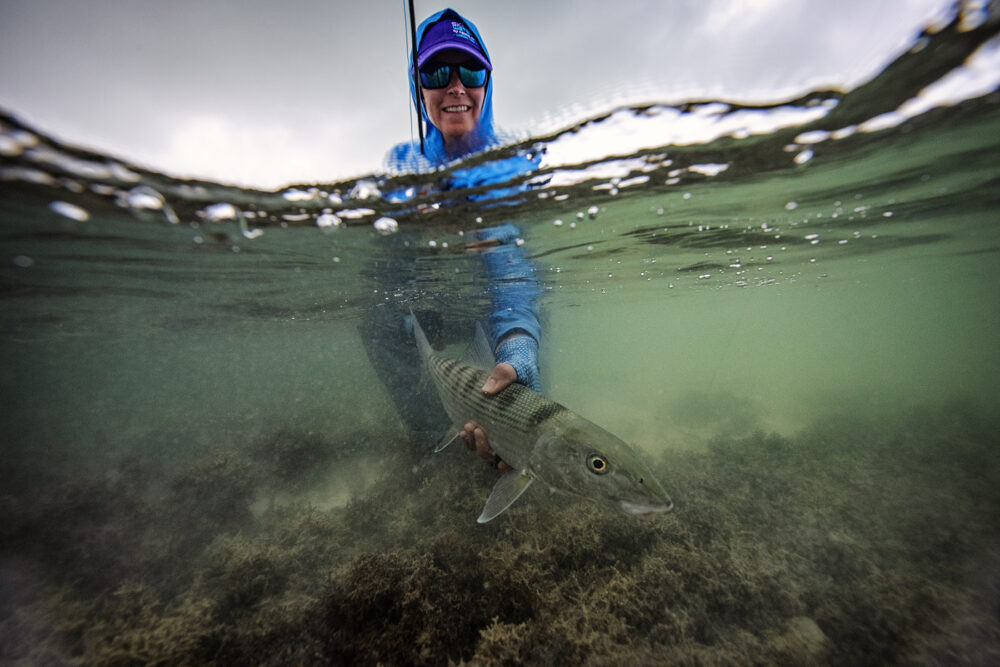 Jessica Haydahl holding a sturgeon fish under water.